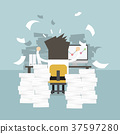 Businessman very busy on office table. 37597280