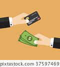 Hand with credit card and money 37597469