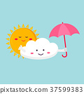 Illustration of the funny cloud and sun. 37599383