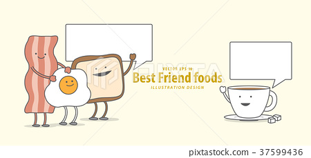 Cartoon character of Breakfast talk together 37599436