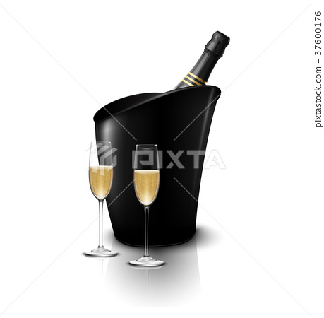 Two wineglass with wine bottles of champagne in a  37600176