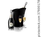 香槟 瓶子 葡萄酒杯 37600178