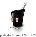 香槟 瓶子 葡萄酒杯 37600179