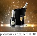 香槟 瓶子 葡萄酒杯 37600181