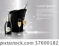香槟 瓶子 葡萄酒杯 37600182