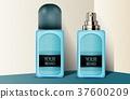 Blue plastic perfume bottles 37600209