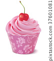Cupcake with cherry. Realistic vector  37601081
