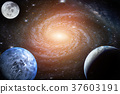 Landscape galaxy. Planet, Earth, moon view  37603191