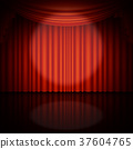 Spotlight on stage and red curtain. EPS 10 vector 37604765