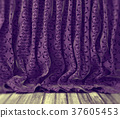Purple floral curtains background 37605453
