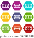 Futsal or indoor soccer field icon set color hexahedron 37609288