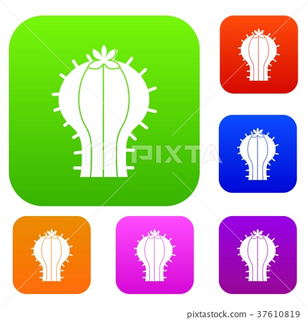 Cactus with flower set color collection 37610819