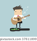 Businessman playing guitar for money 37611899