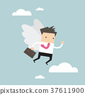 Businessman flying with his wing 37611900