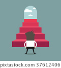 Successful businessman climbing steps. Back view 37612406