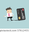 Businessman breaks free from the chain credit card 37612455