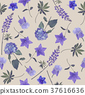 seamless   pattern of blue flowers 37616636