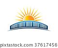 Sun Over Bridge Horizon Vector Illustration 37617456
