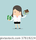 Businesswoman holding house and money 37619224