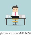 Businessman meditation in office. yoga at job 37619406