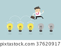 Businessman jump on light bulbs 37620917