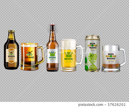 Vector Realistic beer bottle and glass 37626201