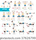 Woman workout fitness, aerobic and exercises.  37626799