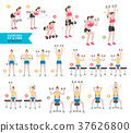 Woman workout fitness, aerobic and exercises.  37626800