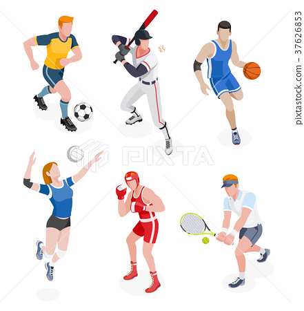 Group of sports people. Vector illustrations. 37626853