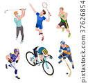 Group of sports people. Vector illustrations. 37626854