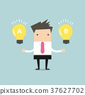 Businessman compares idea A to idea B 37627702