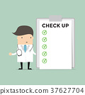 Doctor with list of medical check up 37627704