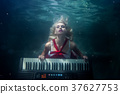 Woman plays the piano underwater. 37627753