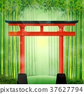 Bamboo forest with red Japanese gate 37627794