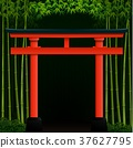 Dark bamboo forest background with red japanese ga 37627795
