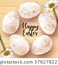 Easter Card with realistic eggs on wood texture ba 37627822