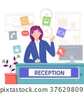 Reception service hotel,Smiling girl sitting at 37629809