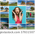 Collage of beach holiday scenes in Jamaica 37631507