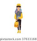 Vector cartoon teen girl student with book 37633168