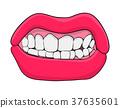 lips with teeth cartoon vector symbol icon design. 37635601
