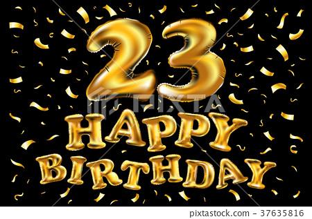 23 Years Happy Birthday Vector Balloon Gold