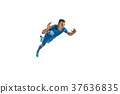 Professional football soccer player isolated white 37636835
