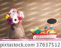 Flowers and colorful cookies with a banner 37637512