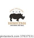 animal, vector, rhino 37637531