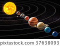 Parade of planets, appulse concept. 3D rendering 37638093