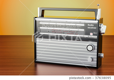 radio receiver on the wooden table, 3D rendering 37638095