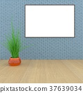 Mock up room, white poster on black wall 3D 37639034