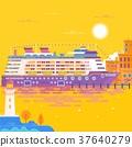 Summer travel cruise ship. Sea landscape. 37640279