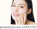 Close up woman is smiling skin beauty and health. 37642742