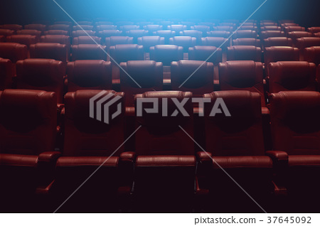empty theater auditorium or cinema with red seats 37645092